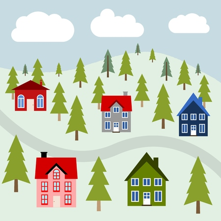 Mountain town illustration - colorful homes and forest trees.