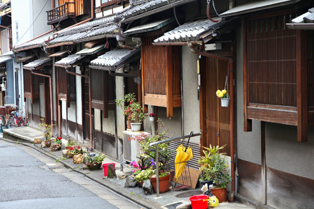 asian house plants: Old Kyoto, Japan - wooden architecture of Higashiyama district.