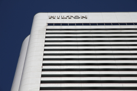 best rated: OSAKA, JAPAN - APRIL 27, 2012: Hilton hotel in Osaka, Japan. According to Tripadvisor, Hilton is currently in Top 25 best rated hotels in Osaka. Editorial