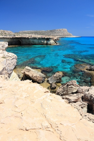 azure: Azure sea blissful landscape at Cape Greco in Cyprus.
