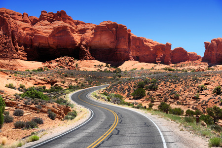 scenic drive: Arches National Park in Utah, USA. Famous Arches Scenic Drive road.