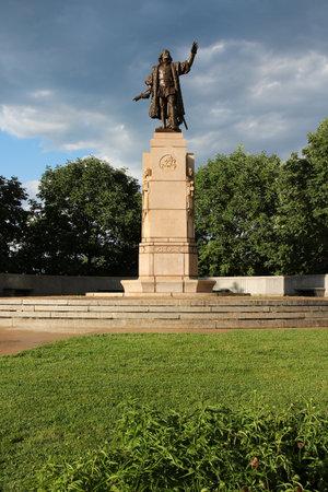 descubridor: Christopher Columbus monument in Grant Park. Chicago, USA.