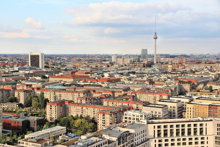 tv tower: Berlin, Germany. Capital city architecture aerial view with TV Tower. Stock Photo