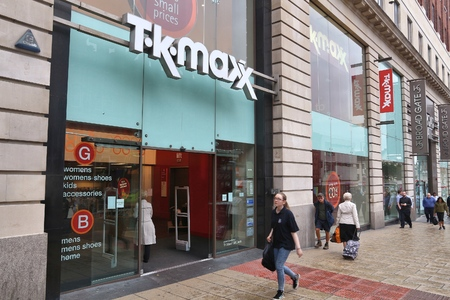 tk: LEEDS, UK - JULY 11, 2016: People walk by TK Maxx store in Leeds, UK. As of 2014 the clothing outlet and home goods company had some 1000 stores worldwide.