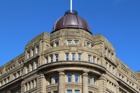 britannia: Bradford, city in West Yorkshire, England. Britannia House governmental building. Stock Photo