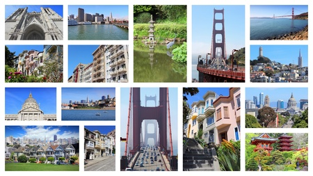 telegraph hill: San Francisco collage - photo collection with Alamo Square, Nob Hill, Telegraph Hill, Grace Cathedral and Golden Gate Bridge.
