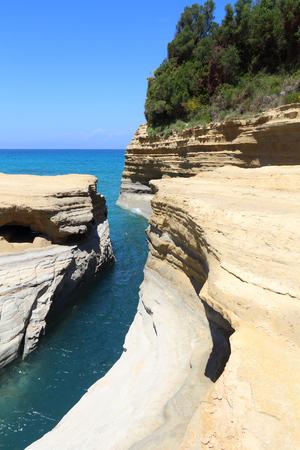 Sidari on Corfu island, Greece. Canal DAmour rock formation - Canal of Love. Stock Photo