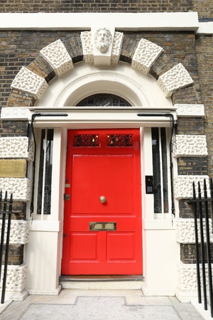west end: Bloomsbury in West End of London, UK - beautiful Georgian front door. Stock Photo