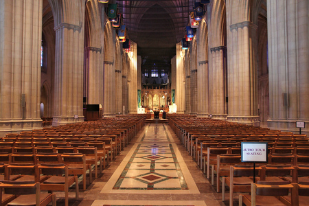 WASHINGTON DC, USA - JUNE 14, 2013: Interior view of National Cathedral in Washington. Construction of famous church began in 1907 and currently it is listed on National Register of Historic Places.