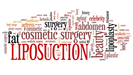liposuction: Liposuction - lipoplasty cosmetic surgery. Tag cloud concept.