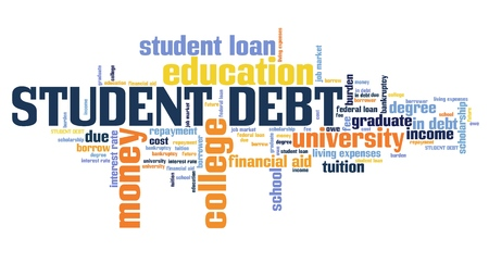 Collage debt - university education loan word collage. Stock Photo