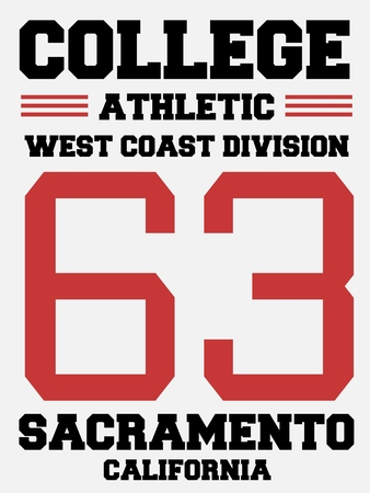sports jersey: Athletic jersey design - college sports fashion typography. West Coast - Sacramento, California.