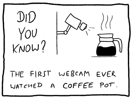 Internet facts about first webcam history - fun trivia cartoon doodle concept. Newspaper funny comic fact.