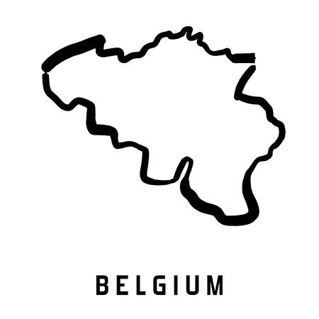 ベルギーのマップのアウトライン - 滑らかな国形地図ベクトル。  イラスト・ベクター素材
