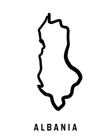 Albania Map Outline Smooth Country Shape Map Vector Stock Vector 64860322