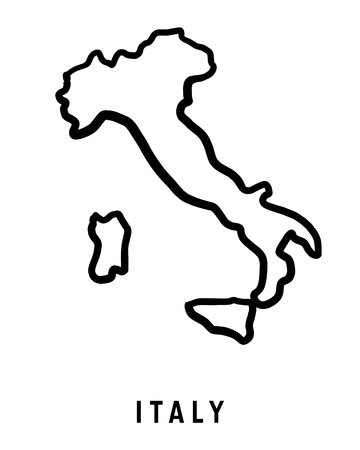 Italy map outline - smooth country shape map vector.  イラスト・ベクター素材