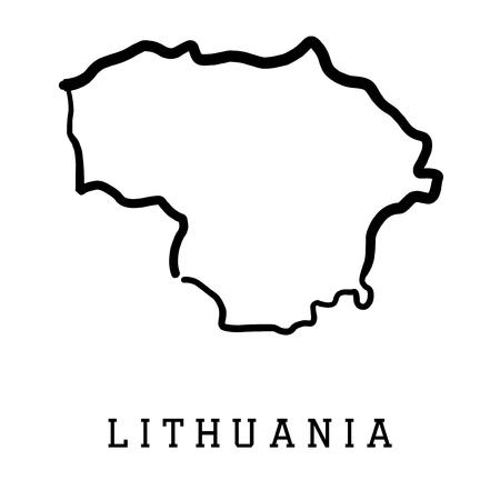 Lituania mapa de contorno - país lisa forma del mapa vectorial. Ilustración de vector