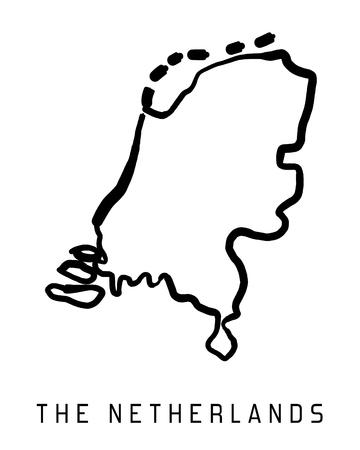 El esquema de la correspondencia Países Bajos - suave Forma de país mapa vectorial.