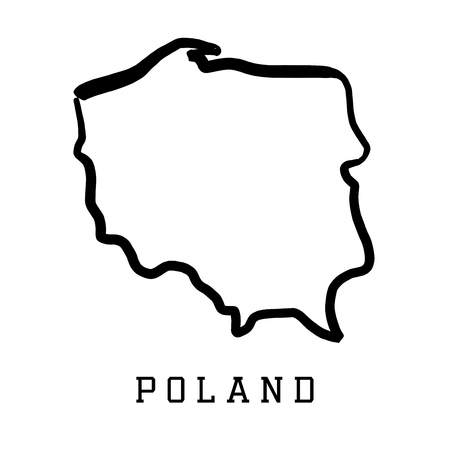 Poland map outline - smooth country shape map vector. Stock Illustratie