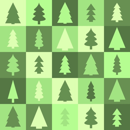 christmas tree illustration: Christmas tree green background - seamless texture illustration.