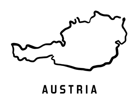 austria map: Austria map outline - smooth country shape map vector.