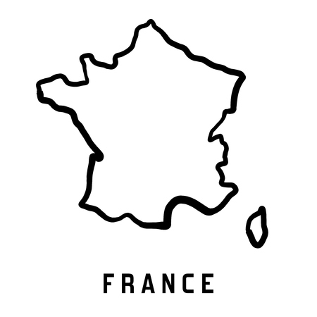 France map outline - smooth country shape map vector.