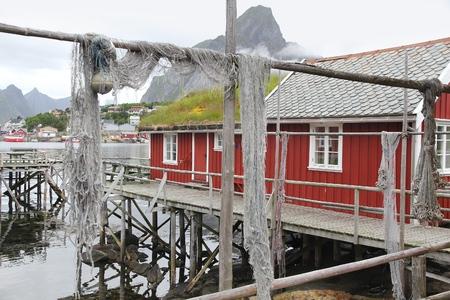 Lofoten archipelago in Norway. Reine fishing village in Moskenesoya island.
