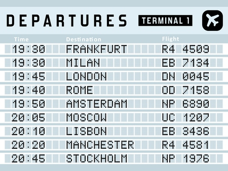 departure board: Airport timetable - departure board vector illustration. Travel sign. Frankfurt, Milan, London, Rome and other airports.