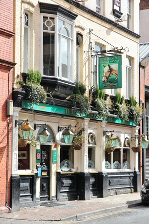 nags: MANCHESTER, UK - APRIL 23, 2013: The Old Nags Head pub in Manchester, UK. As of 2011 there were more than 50 thousand pubs in the UK.