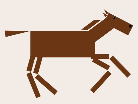 vecteur Cheval - conception animale géométrique. Galloping cheval bai couleur.