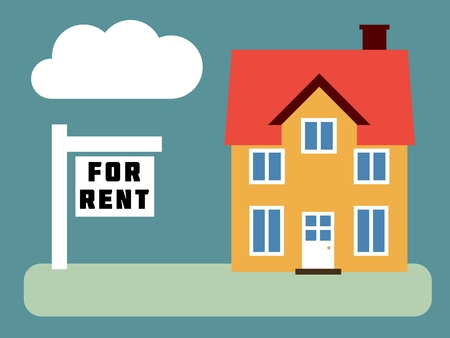 front yard: House for rent - simple vector real estate illustration.