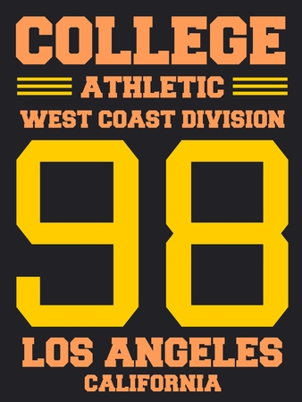 sports jersey: Athletic jersey design - college sports fashion typography. West Coast - Los Angeles, California.