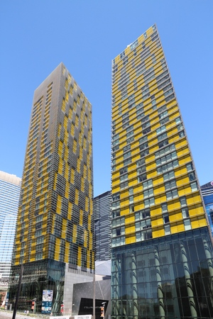 LAS VEGAS, USA - APRIL 14, 2014: Veer Towers in CityCentre in Las Vegas. The complex was completed in 2010 and was designed by Murphy-Jahn Architects. Editorial
