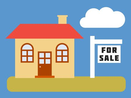 Home for sale - simple vector real estate illustration. Stock Photo