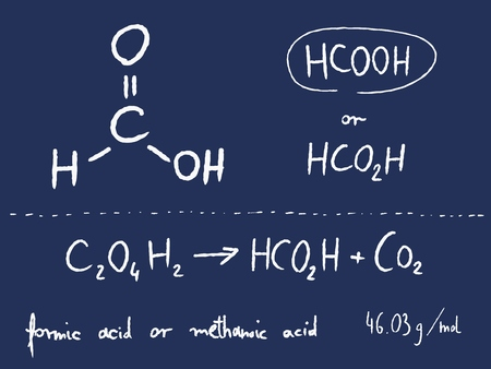 formic: Formic acid (methanoic acid) - organic chemistry lesson. Stock Photo