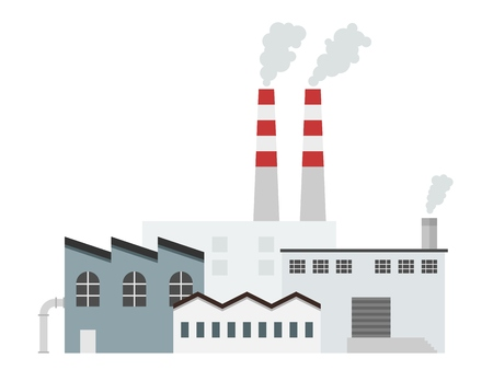 smokestack: Factory building - industrial plant architecture vector illustration.