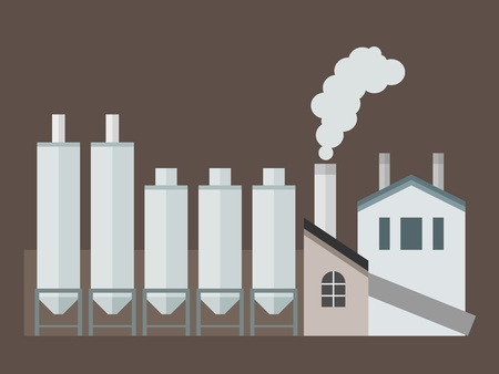 cement chimney: Factory building - industrial cement plant architecture vector illustration. Illustration