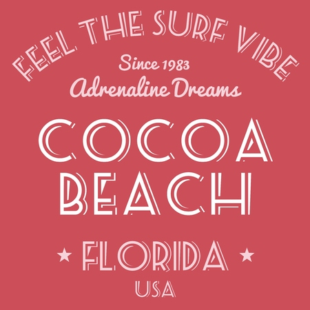 cocoa beach: T-shirt design - fashion graphics. Surfing vacation typography. Cocoa Beach, Florida, USA.