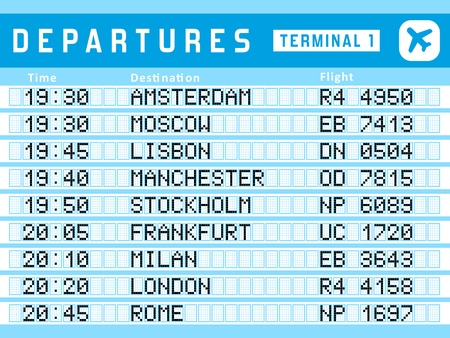 departure board: Airport timetable - departure board vector illustration. Travel sign. Flights to Amsterdam, Moscow, Lisbon, Stockholm and Frankfurt.