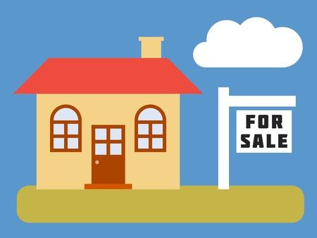 yard sale: Home for sale - simple vector real estate illustration. Illustration