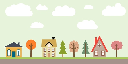 small town: Small town life - cute village vector illustration. Residential suburb.