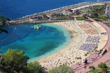 tourist resort: Amadores beach, Gran Canaria, Spain. Tourist resort area.