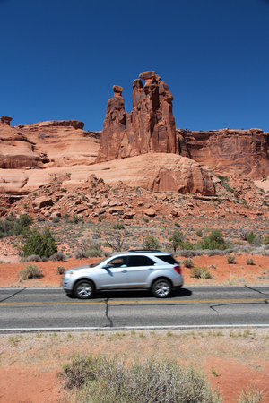 scenic drive: Arches Scenic Drive road in Arches National Park, Utah, USA. Car in motion.