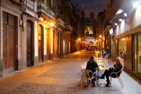 LAS PALMAS, SPAIN - NOVEMBER 29, 2015: People visit Vegueta Old Town in Las Palmas, Gran Canaria, Spain. Canary Islands had record 12.9 million visitors in 2014.