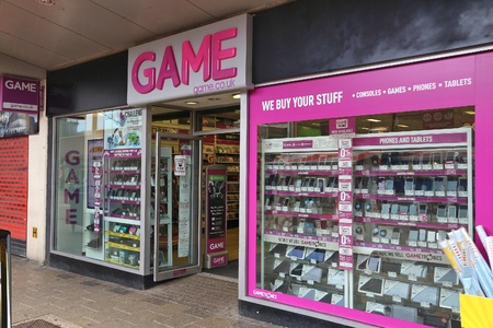 retailer: BARNSLEY, UK - JULY 10, 2016: Game UK video games store in Barnsley, UK. Game Digital is a high street video game retailer with 328 stores in the UK.