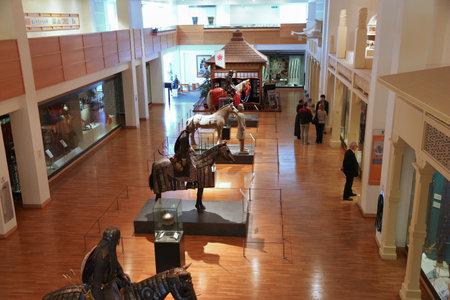 museum visit: LEEDS, UK - JULY 12, 2016: People visit Royal Armouries Museum in Leeds, UK. The free public museum had 274,768 visitors in 2010. Editorial