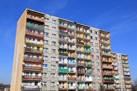 PIEKARY SLASKIE, POLAND - MARCH 9, 2015: Residential architecture view in Piekary Slaskie, Poland. Piekary Slaskie is an important city in Slaskie region. It has 54,783 inhabitants. Editorial