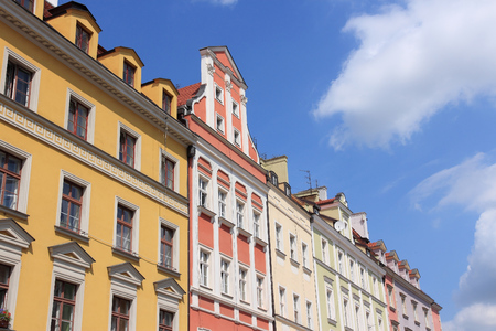 Wroclaw, Poland - city architecture at Market Square (Rynek). Old Town architecture. Stock Photo