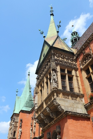 Wroclaw, Poland - city architecture at Market Square (Rynek). Old Town Hall. Stock Photo