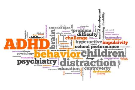 ADHD - attention deficit hyperactivity disorder. problema Istruzione. Word cloud segno. Archivio Fotografico